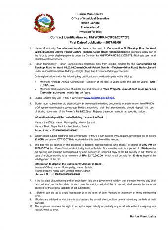 "Tender Notice:Contract Identification No: HM/WORK/NCB/02/2077/078""Construction Of Blacktop Road In Ward 02,03,04(Ganesh Chowk -Pakad Gachhi -Tinghare-Gelha Road) Harion,Sarlahi"""